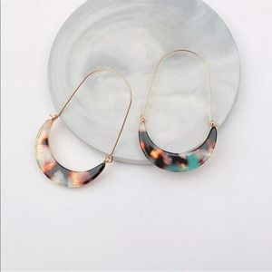 Acrylic Crescent Moon Drop Earrings